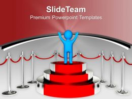 Winner Standing On Podium Competition Powerpoint Templates Ppt Themes And Graphics 0313