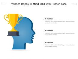 Winner Trophy In Mind Icon With Human Face