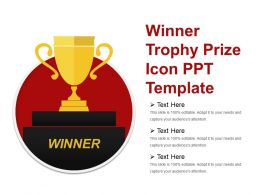 Winner Trophy Prize Icon Ppt Template