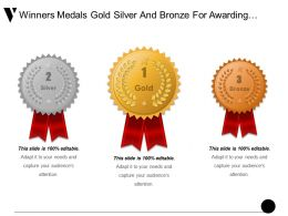 Winners Medals Gold Silver And Bronze For Awarding Prize Ppt Example