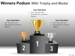 Winners Podium With Trophy And Medal Powerpoint Presentation Slides DB