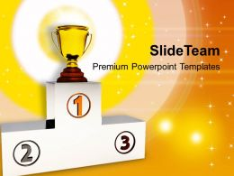 Winners Podium With Trophy Powerpoint Templates Ppt Backgrounds For Slides 0213
