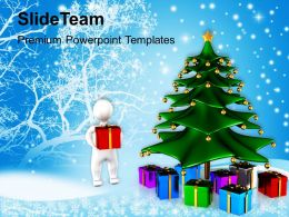 Winter Holidays Christmas Background Tree With Gifts Festival Templates Ppt For Slides Powerpoint