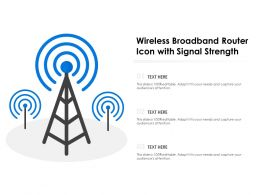 Wireless Broadband Router Icon With Signal Strength
