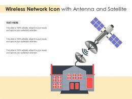 Wireless Network Icon With Antenna And Satellite