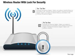Wireless Router With Lock For Security Ppt Slides