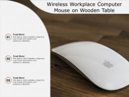 Wireless Workplace Computer Mouse On Wooden Table