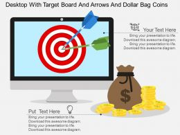 wj_desktop_with_target_board_and_arrows_and_dollar_bag_coins_flat_powerpoint_design_Slide01