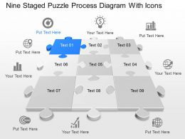 Wj Nine Staged Puzzle Process Diagram With Icons Powerpoint Template