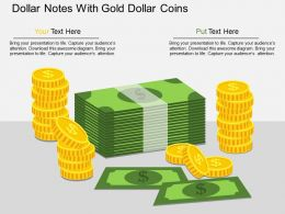 wk Dollar Notes With Gold Dollar Coins Flat Powerpoint Design