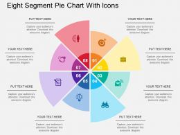 wl Eight Segment Pie Chart With Icons Flat Powerpoint Design