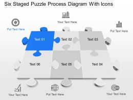 Wm Six Staged Puzzle Process Diagram With Icons Powerpoint Template