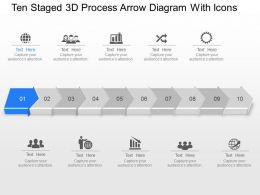 Wo Ten Staged 3d Process Arrow Diagram With Icons Powerpoint Template