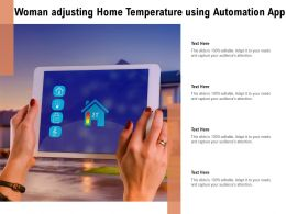 Woman Adjusting Home Temperature Using Automation App