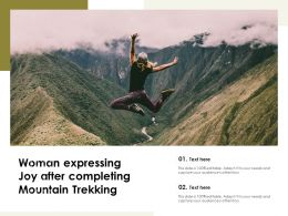 Woman Expressing Joy After Completing Mountain Trekking
