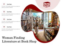 Woman Finding Literature At Book Shop
