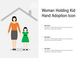 Woman Holding Kid Hand Adoption Icon