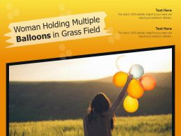 Woman Holding Multiple Balloons In Grass Field