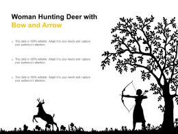 Woman Hunting Deer With Bow And Arrow