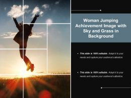 Woman Jumping Achievement Image With Sky And Grass In Background