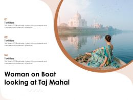 Woman On Boat Looking At Taj Mahal