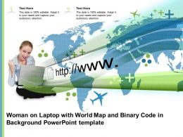 Woman On Laptop With World Map And Binary Code In Background Powerpoint Template
