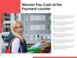 Woman Pay Cash At The Payment Counter