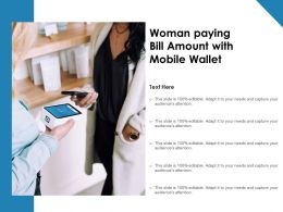 Woman Paying Bill Amount With Mobile Wallet