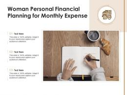 Woman Personal Financial Planning For Monthly Expense