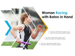 Woman Racing With Baton In Hand