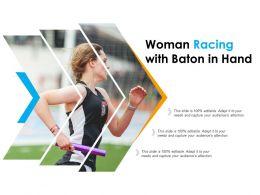 Woman Racing With Baton In Hand