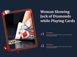 Woman Showing Jack Of Diamonds While Playing Cards