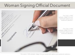 Woman Signing Official Document