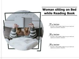 Woman Sitting On Bed While Reading Book