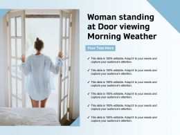 Woman Standing At Door Viewing Morning Weather