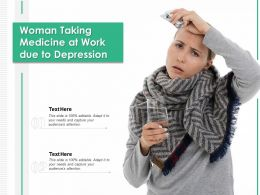 Woman Taking Medicine At Work Due To Depression