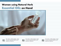 Woman Using Natural Herb Essential Oils On Hand