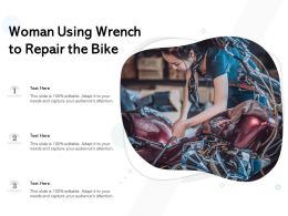 Woman Using Wrench To Repair The Bike