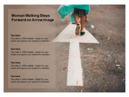 Woman Walking Steps Forward On Arrow Image
