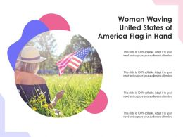 Woman Waving United States Of America Flag In Hand