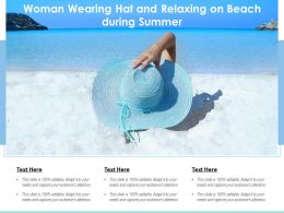 Woman Wearing Hat And Relaxing On Beach During Summer