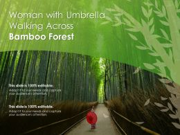 Woman With Umbrella Walking Across Bamboo Forest