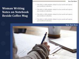 Woman Writing Notes On Notebook Beside Coffee Mug