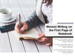 Woman Writing On The First Page Of Notebook