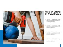 Women Drilling In Wood Image