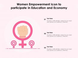 Women Empowerment Icon To Participate In Education And Economy