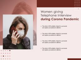 Women Giving Telephone Interview During Corona Pandemic