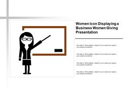 Women Icon Displaying A Business Women Giving Presentation