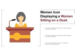 Women Icon Displaying A Women Sitting On A Desk