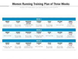Women Running Training Plan Of Three Weeks